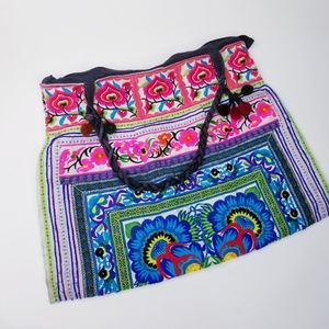 Wabags embroidered bohemian tote bag